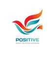 positive - abstract colored bird logo temp vector image