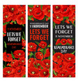 red poppy flower banner for remembrance day design vector image vector image