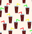 Seamless Pattern with Glass of Cola Background vector image vector image