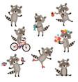 set funny raccoons vector image vector image
