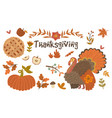 set thanksgiving day objects isolated on white vector image