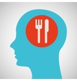 silhouette head resturant icon graphic vector image