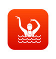 swimmer in a swimming pool icon digital red vector image vector image