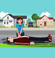 teenager giving a cpr to a middle aged man vector image