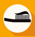 toothbrush icon on white circle with a long shadow vector image vector image