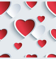 Valentines day seamless pattern with 3d hearts vector image