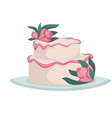 wedding cake with flowers cream or icing isolated vector image vector image