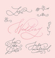 wedding calligraphic letterings set vector image vector image