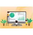young businessman is presented investment chart vector image