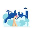 young man city dweller blow nose in handkerchief vector image vector image