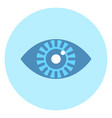 human eye icon on blue round background vector image