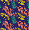 Seamless color palm leaves pattern Flat style vector image