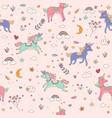 seamless unicorn pink pattern children wallpaper vector image