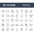 Set Flat Line Icons Travel vector image