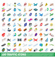 100 traffic icons set isometric 3d style vector image vector image
