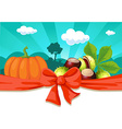 Autumn still life with pumpkin and chestnuts vector image vector image