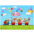 Birthday background with animal on train vector image vector image