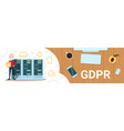 boy shield gdpr isometric infographic data privacy vector image