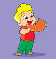 boy with cookies vector image vector image