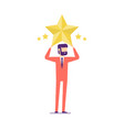 businessman hold a big gold star victory rating vector image vector image