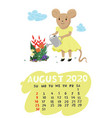 calendar for august 2020 with a mouse watering vector image