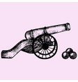 cannon doodle style vector image vector image