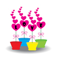 Card Heart in pots vector image vector image