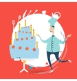 chef decorate a cake vector image
