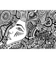 coloring page with psychedelic fantasy face girl vector image vector image