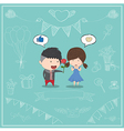 Cute cartoon boy give rose girl card vector image vector image