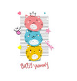 cute cats typography slogan print vector image