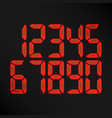 digital glowing numbers red numbers on vector image