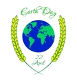 Earth Day with planet and wheat ears vector image