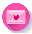 envelope with heart pink red icon happy valentine vector image vector image