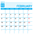 February 2015 calendar page template vector image