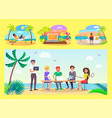 freelancers work at office table on tropical beach vector image vector image