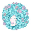 girl face eyes closed long curly hair vector image vector image