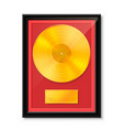 golden vinyl in frame on wall collection disc vector image vector image