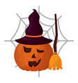 halloween pumpkin with broom and witch hat vector image vector image