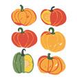 hand drawn pumpkin set brush fall design vector image