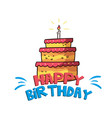 happy birthday big orange cake background i vector image