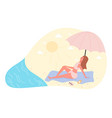 hot summer outdoor recreation on sand beach woman vector image