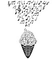 ice cream with music notes vector image vector image