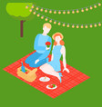 isometric couple outside on romantic date vector image vector image