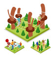 isometric outdoor activity rope park and barbeque vector image vector image