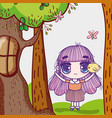 kids little girl anime cartoon with tree chicken vector image