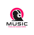 logo listening to music with a headset vector image vector image