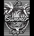 monochrome retro poster with palm trees to vector image vector image