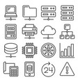 network and hosting icons set on white background vector image vector image