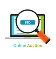 Online bidding auction laptop bid button concept